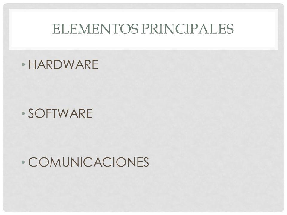 ELEMENTOS PRINCIPALES HARDWARE SOFTWARE COMUNICACIONES