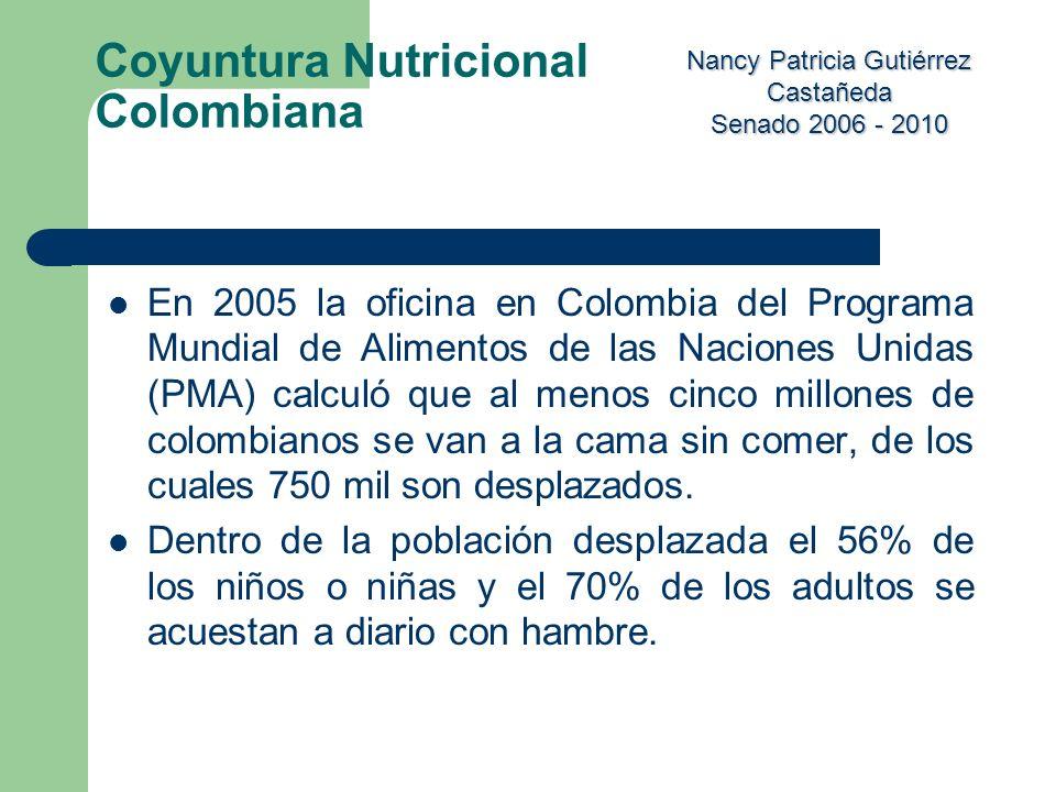 Nancy Patricia Gutiérrez Castañeda Senado 2006 - 2010 En 2005 la oficina en Colombia del Programa Mundial de Alimentos de las Naciones Unidas (PMA) ca