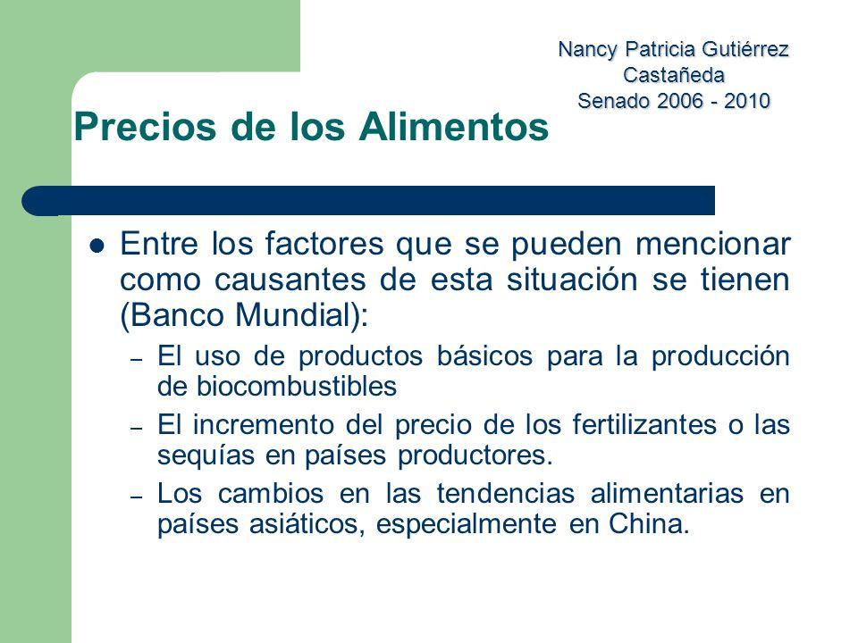 Nancy Patricia Gutiérrez Castañeda Senado 2006 - 2010 Entre los factores que se pueden mencionar como causantes de esta situación se tienen (Banco Mun