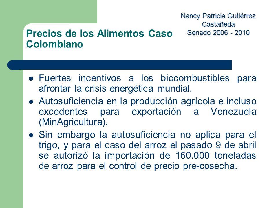 Nancy Patricia Gutiérrez Castañeda Senado 2006 - 2010 Fuertes incentivos a los biocombustibles para afrontar la crisis energética mundial. Autosuficie