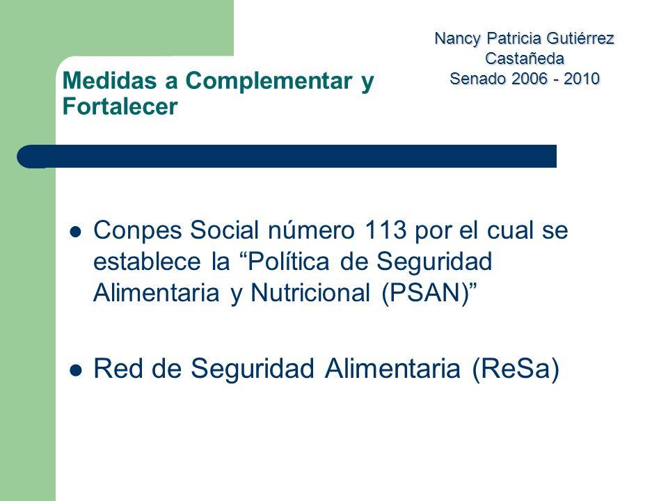 Nancy Patricia Gutiérrez Castañeda Senado 2006 - 2010 Conpes Social número 113 por el cual se establece la Política de Seguridad Alimentaria y Nutrici
