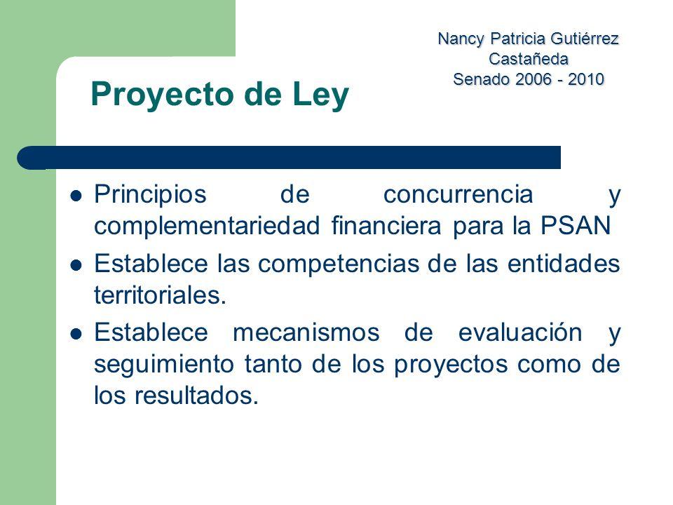 Nancy Patricia Gutiérrez Castañeda Senado 2006 - 2010 Principios de concurrencia y complementariedad financiera para la PSAN Establece las competencia