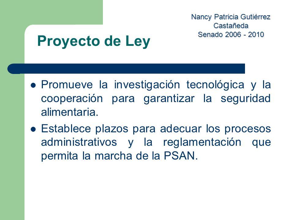 Nancy Patricia Gutiérrez Castañeda Senado 2006 - 2010 Promueve la investigación tecnológica y la cooperación para garantizar la seguridad alimentaria.