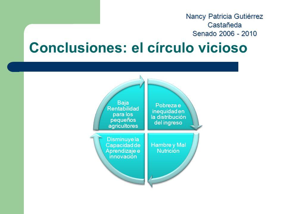 Nancy Patricia Gutiérrez Castañeda Senado 2006 - 2010 Conclusiones: el círculo vicioso Pobreza e inequidad en la distribución del ingreso Hambre y Mal
