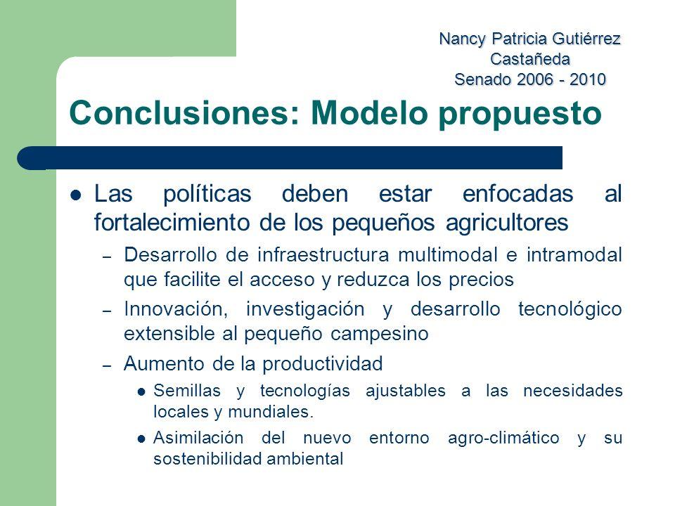 Nancy Patricia Gutiérrez Castañeda Senado 2006 - 2010 Conclusiones: Modelo propuesto Las políticas deben estar enfocadas al fortalecimiento de los peq