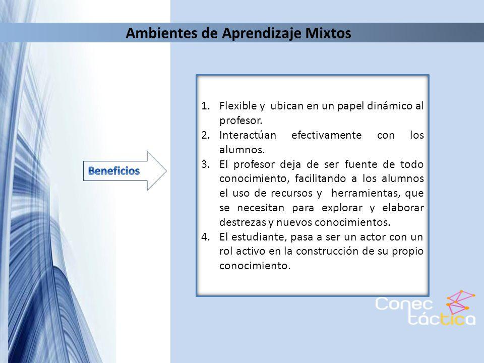 Ambientes de Aprendizaje Mixtos 1.Flexible y ubican en un papel dinámico al profesor. 2.Interactúan efectivamente con los alumnos. 3.El profesor deja