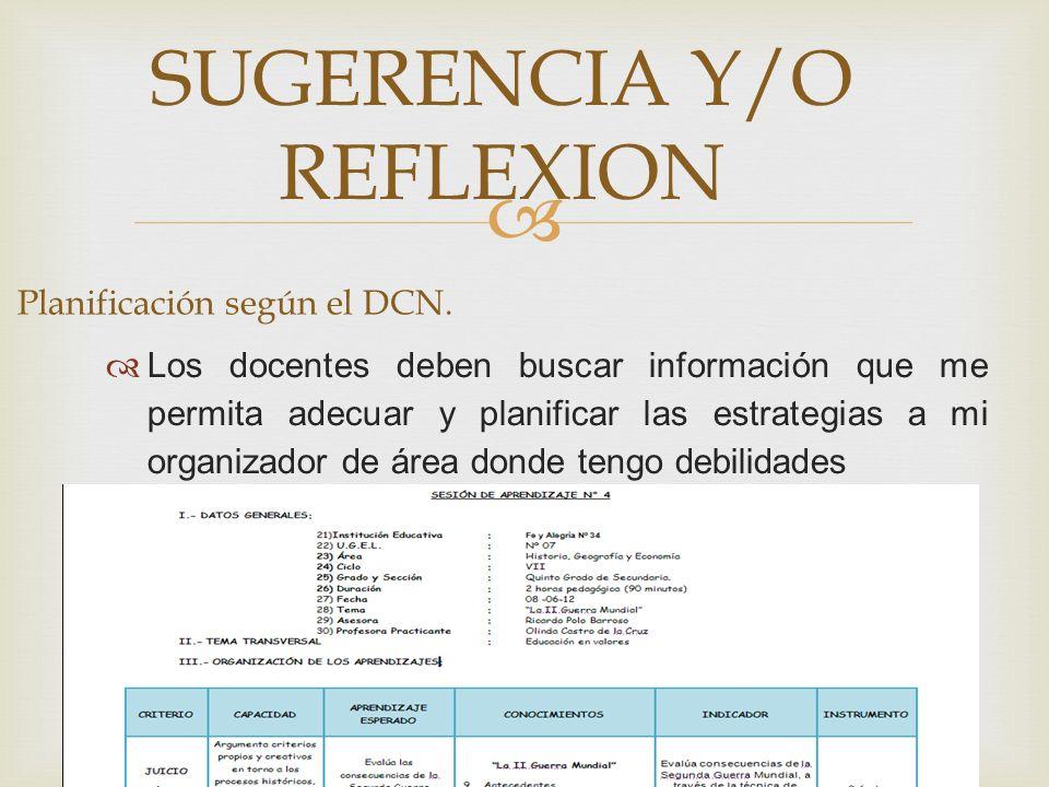 SUGERENCIA Y/O REFLEXION Planificación según el DCN. Los docentes deben buscar información que me permita adecuar y planificar las estrategias a mi or