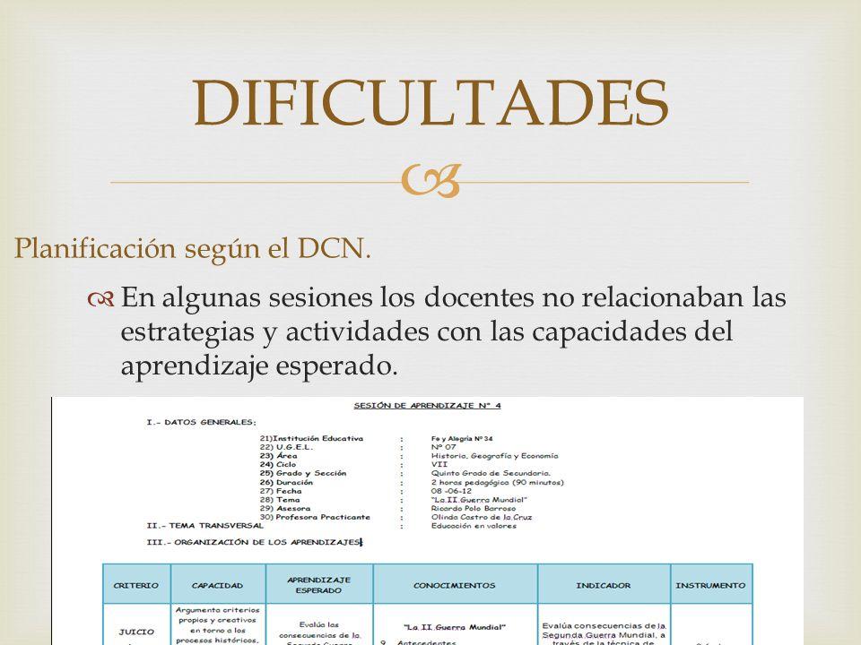 DIFICULTADES Planificación según el DCN. En algunas sesiones los docentes no relacionaban las estrategias y actividades con las capacidades del aprend