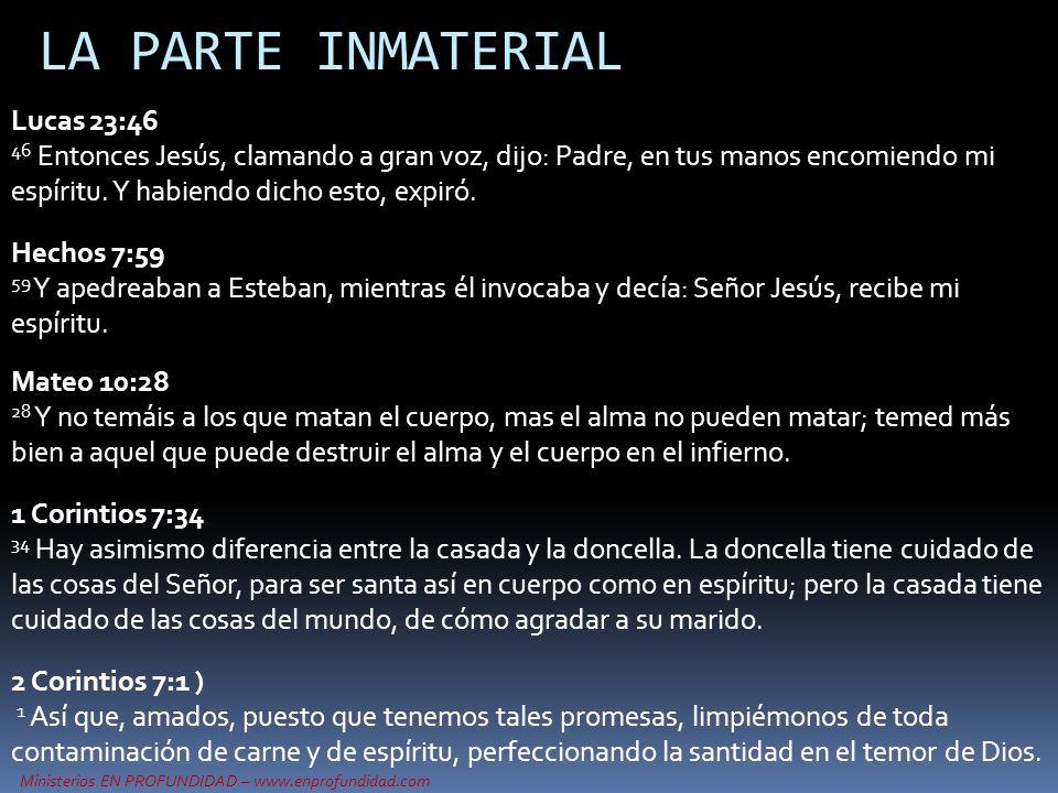 Ministerios EN PROFUNDIDAD – www.enprofundidad.com LA PARTE INMATERIAL Hechos 7:59 59 Y apedreaban a Esteban, mientras él invocaba y decía: Señor Jesú