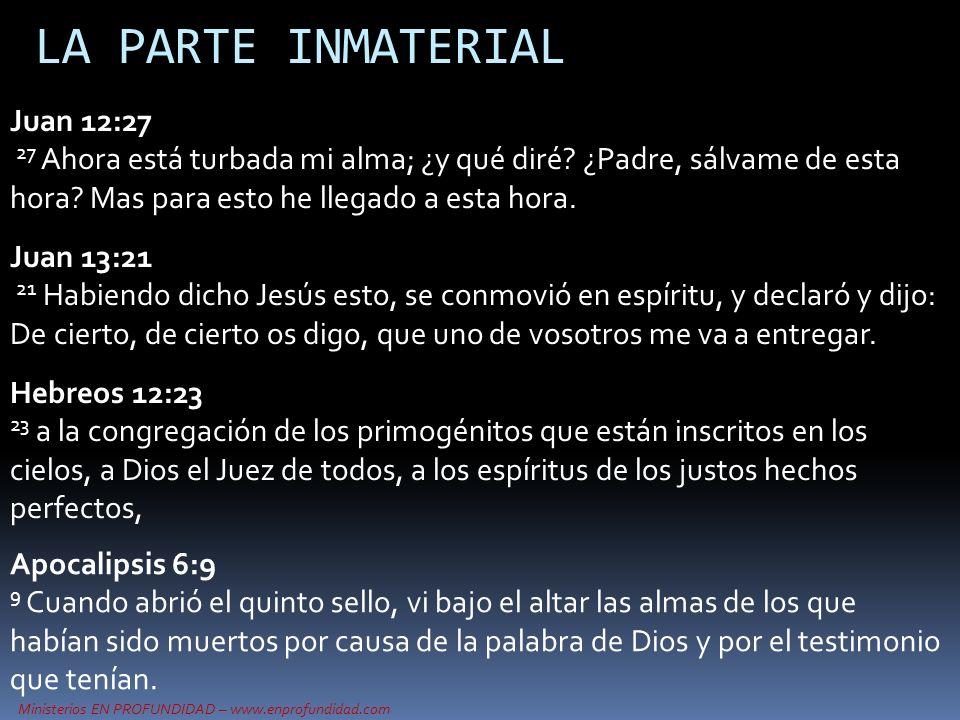 Ministerios EN PROFUNDIDAD – www.enprofundidad.com LA PARTE INMATERIAL Juan 12:27 27 Ahora está turbada mi alma; ¿y qué diré? ¿Padre, sálvame de esta