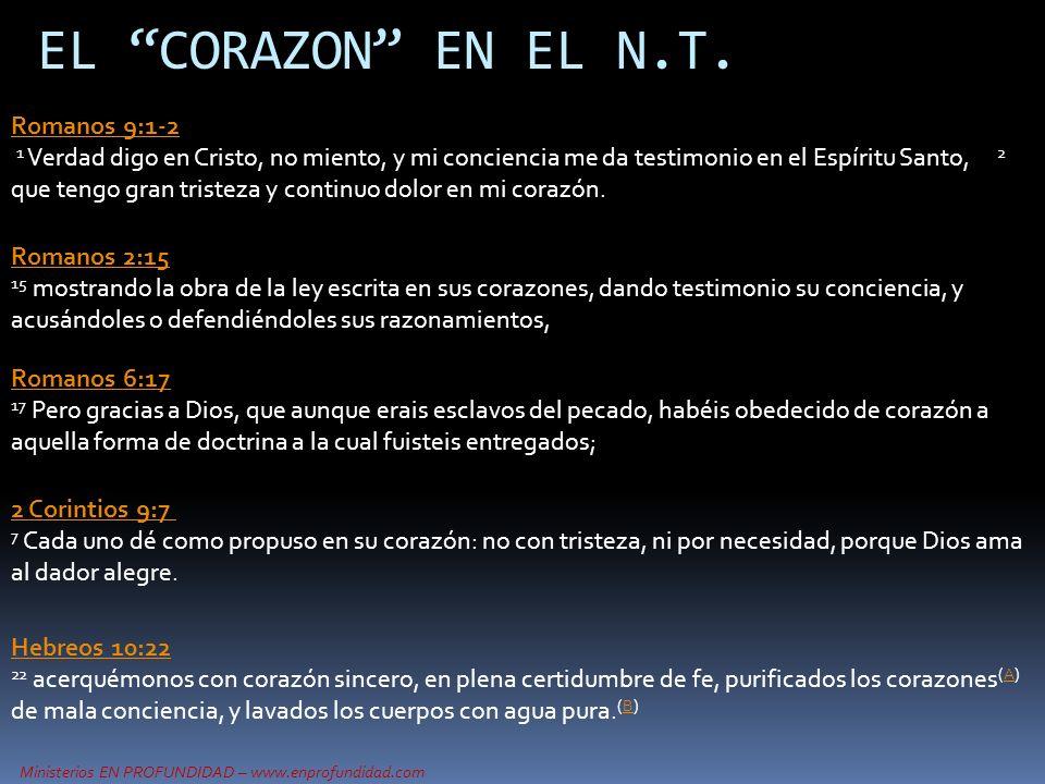 Ministerios EN PROFUNDIDAD – www.enprofundidad.com EL CORAZON EN EL N.T. Romanos 9:1-2 1 Verdad digo en Cristo, no miento, y mi conciencia me da testi