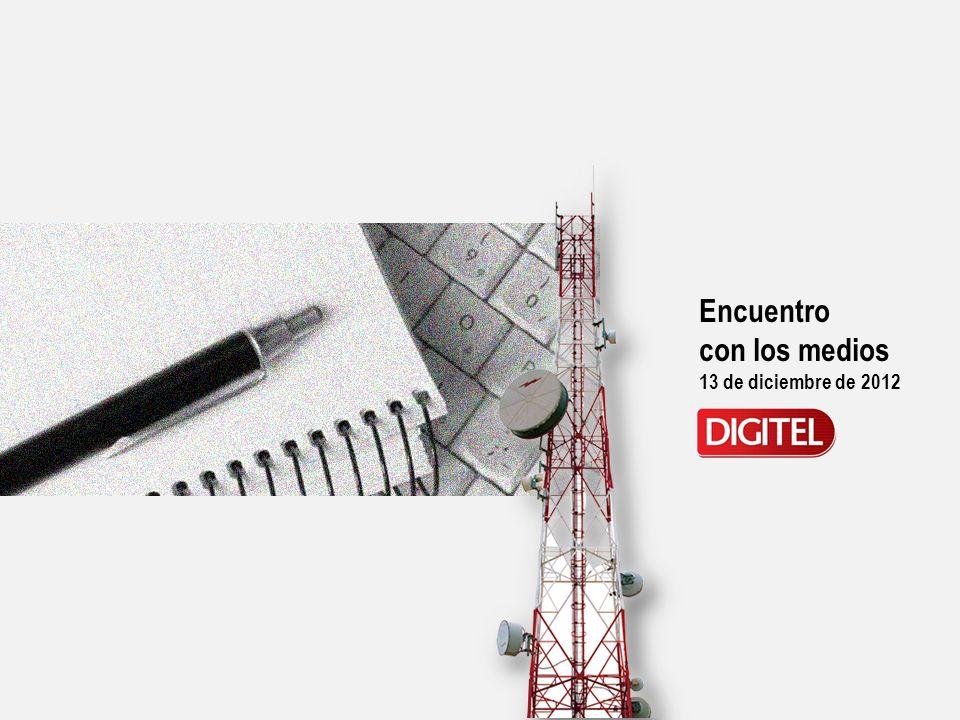 Encuentro con los medios 13 de diciembre de 2012 Digitel en el mercado venezolano Avances de la Red 412 Conexión Social