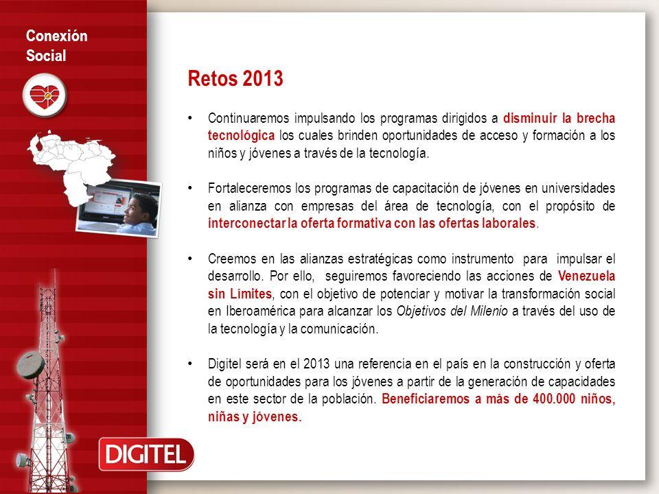 Retos 2013 Continuaremos impulsando los programas dirigidos a disminuir la brecha tecnológica los cuales brinden oportunidades de acceso y formación a