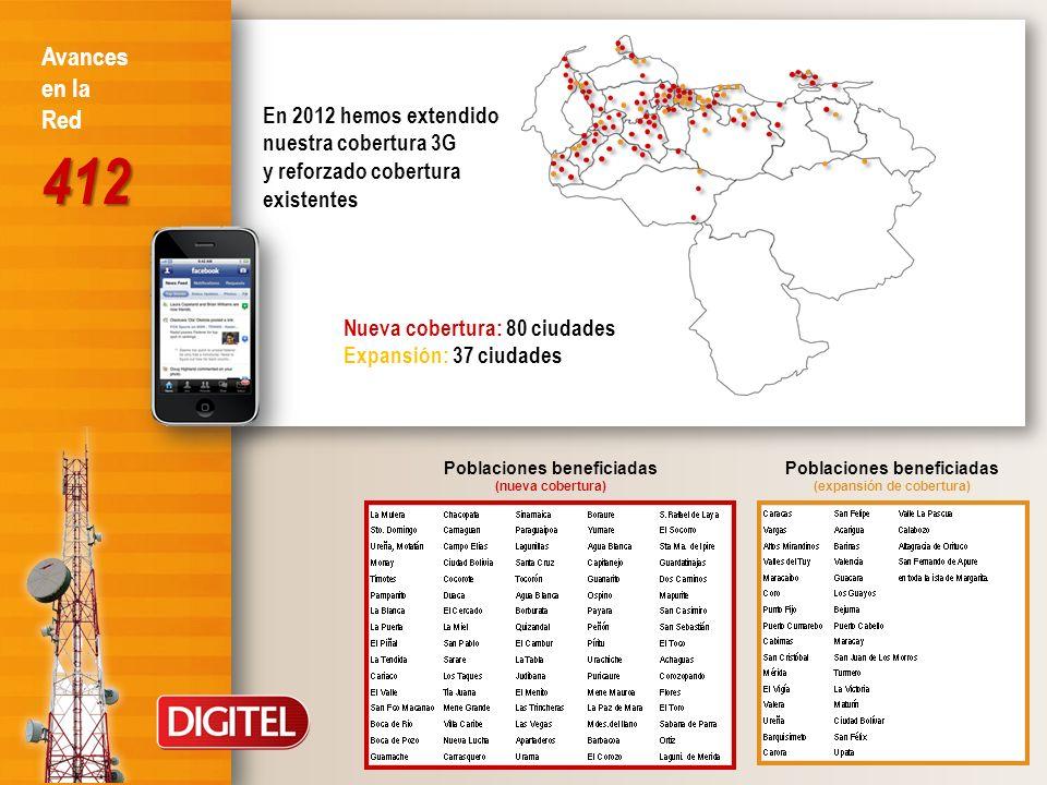 Nueva cobertura: 80 ciudades Expansión: 37 ciudades En 2012 hemos extendido nuestra cobertura 3G y reforzado cobertura existentes Poblaciones benefici