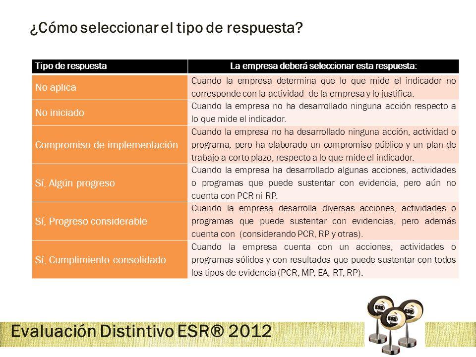 Evaluación Distintivo ESR® 2012 ¿Cómo seleccionar el tipo de respuesta? Tipo de respuestaLa empresa deberá seleccionar esta respuesta: No aplica Cuand