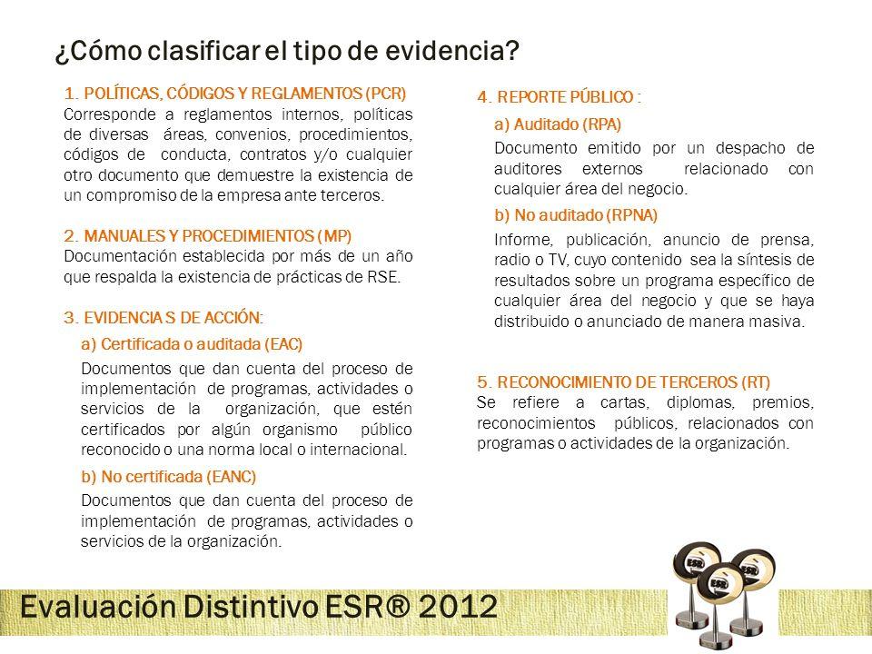 Evaluación Distintivo ESR® 2012 ¿Cómo clasificar el tipo de evidencia? 1. POLÍTICAS, CÓDIGOS Y REGLAMENTOS (PCR) Corresponde a reglamentos internos, p