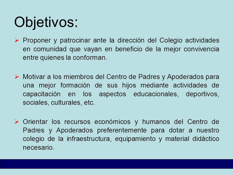 Objetivos: Proponer y patrocinar ante la dirección del Colegio actividades en comunidad que vayan en beneficio de la mejor convivencia entre quienes l