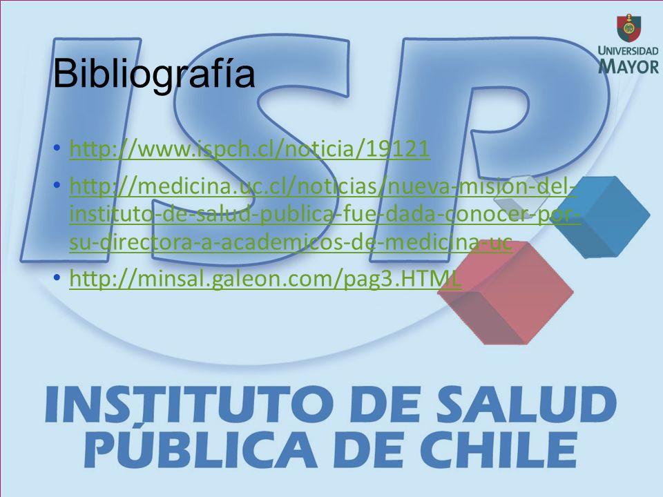 Bibliografía http://www.ispch.cl/noticia/19121 http://medicina.uc.cl/noticias/nueva-mision-del- instituto-de-salud-publica-fue-dada-conocer-por- su-directora-a-academicos-de-medicina-uc http://medicina.uc.cl/noticias/nueva-mision-del- instituto-de-salud-publica-fue-dada-conocer-por- su-directora-a-academicos-de-medicina-uc http://minsal.galeon.com/pag3.HTML