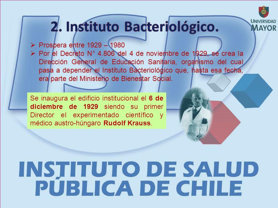 Prospera entre 1929 – 1980 Prospera entre 1929 – 1980 Por el Decreto N° 4.806 del 4 de noviembre de 1929, se crea la Dirección General de Educación Sanitaria, organismo del cual pasa a depender el Instituto Bacteriológico que, hasta esa fecha, era parte del Ministerio de Bienestar Social.