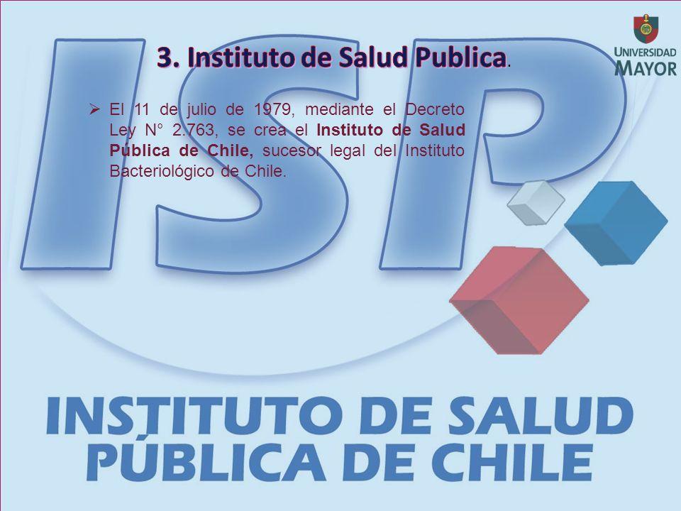 El 11 de julio de 1979, mediante el Decreto Ley N° 2.763, se crea el Instituto de Salud Pública de Chile, sucesor legal del Instituto Bacteriológico de Chile.
