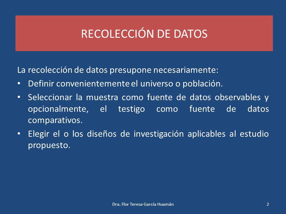 RECOLECCIÓN DE DATOS La recolección de datos presupone necesariamente: Definir convenientemente el universo o población. Seleccionar la muestra como f