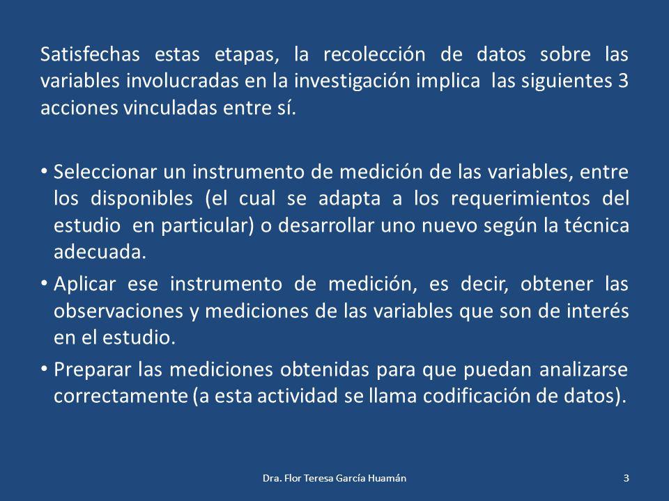 Satisfechas estas etapas, la recolección de datos sobre las variables involucradas en la investigación implica las siguientes 3 acciones vinculadas en
