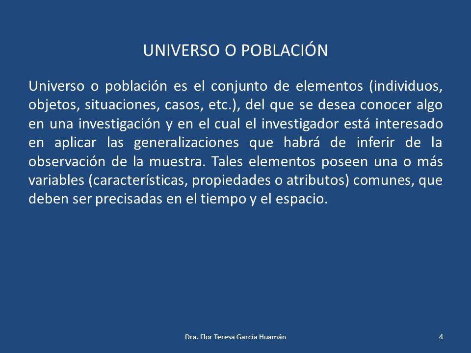 UNIVERSO O POBLACIÓN Universo o población es el conjunto de elementos (individuos, objetos, situaciones, casos, etc.), del que se desea conocer algo e