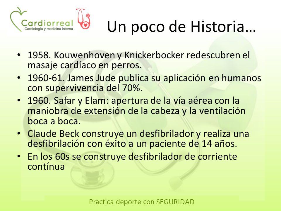 Practica deporte con SEGURIDAD Un poco de Historia… 1958. Kouwenhoven y Knickerbocker redescubren el masaje cardíaco en perros. 1960-61. James Jude pu