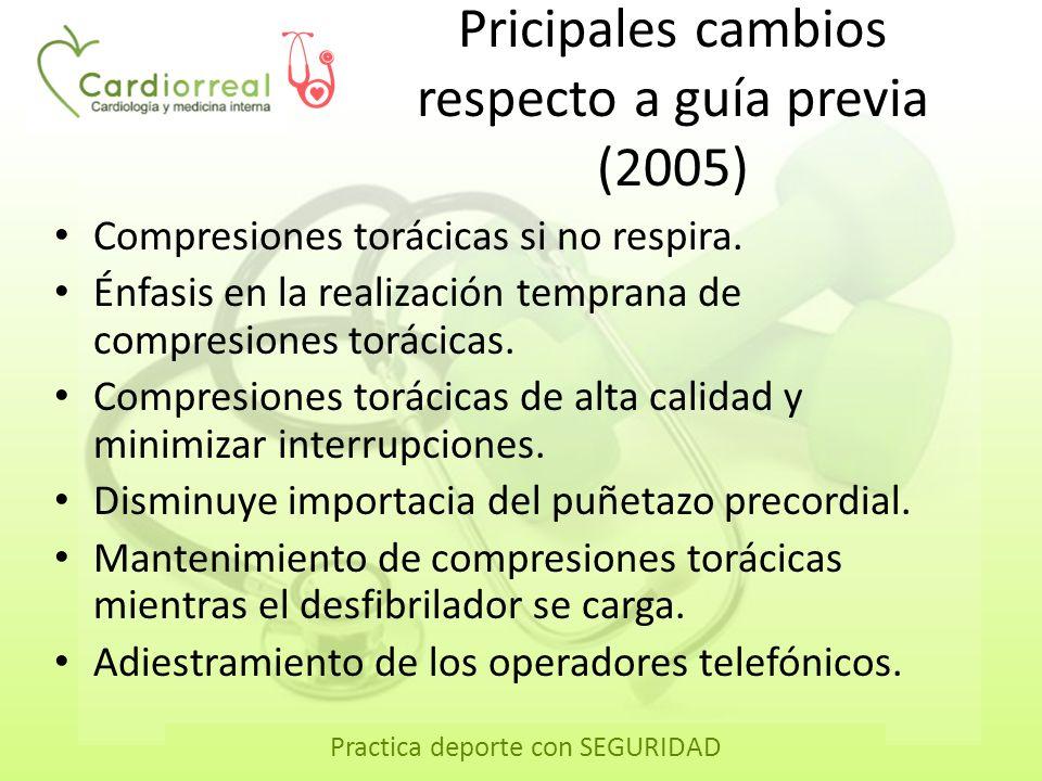 Practica deporte con SEGURIDAD Pricipales cambios respecto a guía previa (2005) Compresiones torácicas si no respira. Énfasis en la realización tempra