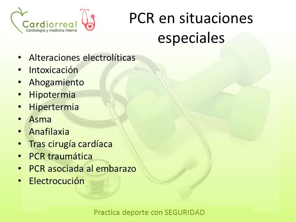 Practica deporte con SEGURIDAD Enseñanza de RCP Lugares donde se producen PCRPorcentaje En casa50 Lugares públicos35 Vehículos: ambulancia, coche…7 En el trabajo3 Otros lugares5 Las PCR no se producirán en presencia de personal sanitario.