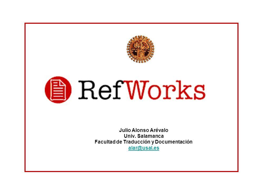 CARACTERISTICAS Desarrollado porProQuestProQuest LLC Sistema OperativoBasado en la Web GeneroGestor de referencias LicenciaPropietaria Sitio Webhttp://www.refworks.com/