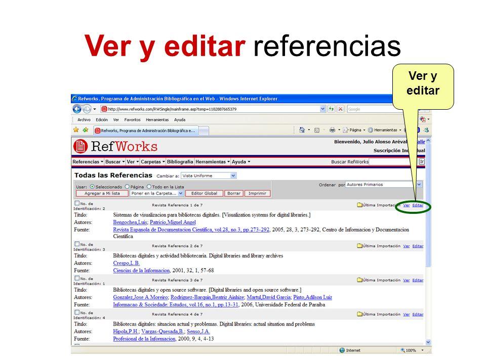 Ver y editar referencias Ver y editar