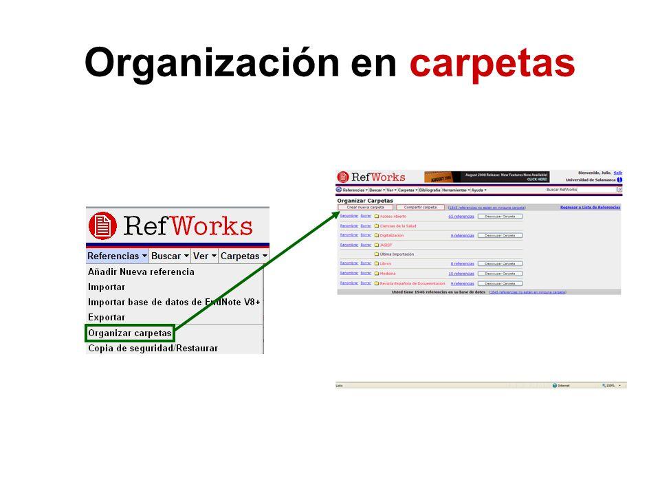 Organización en carpetas