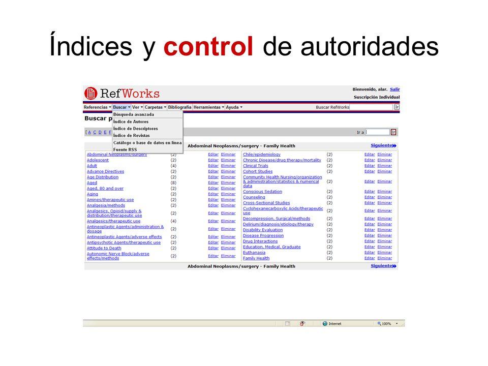 Índices y control de autoridades