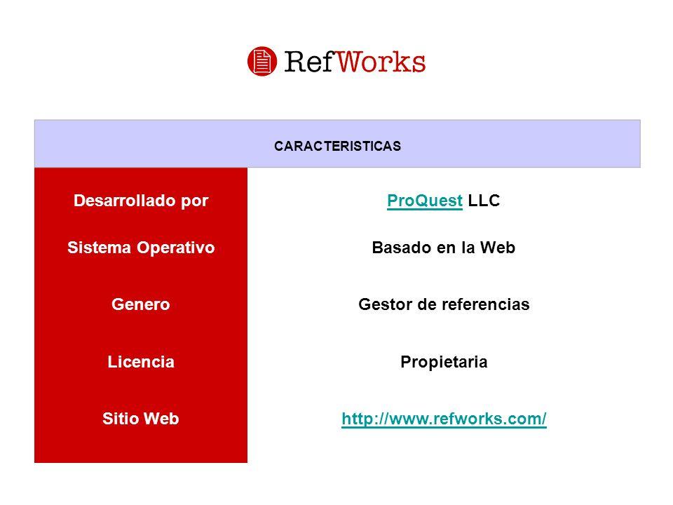 CARACTERISTICAS Desarrollado porProQuestProQuest LLC Sistema OperativoBasado en la Web GeneroGestor de referencias LicenciaPropietaria Sitio Webhttp:/