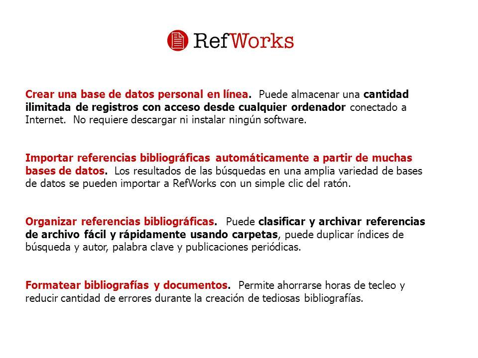 Exportación masiva Desde RefWorks importamos ese fichero, elegimos FILTRO: Innovate Interfaces BASE DE DATOS: Univ.