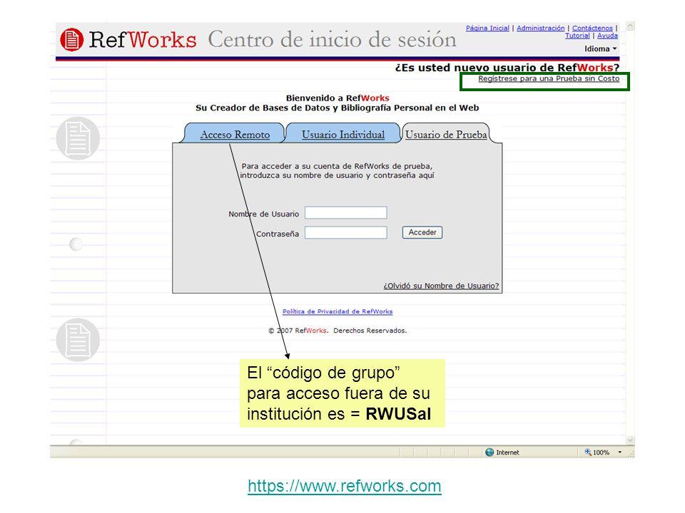 Colocando el cursor donde queremos incorporar la cita y pulsando sobre el símbolo Write-N-Cite, nos mostrará Refworks para que seleccionemos las referencias.