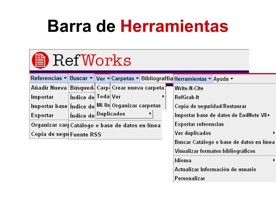 Importar datos en RIS Las bases de datos que no tienen el formato de exportación RefWorks hay que exportarlas en RIS format e importar esos archivos Ris.txt a RefWorks Filtro Base de datos Buscar archivo