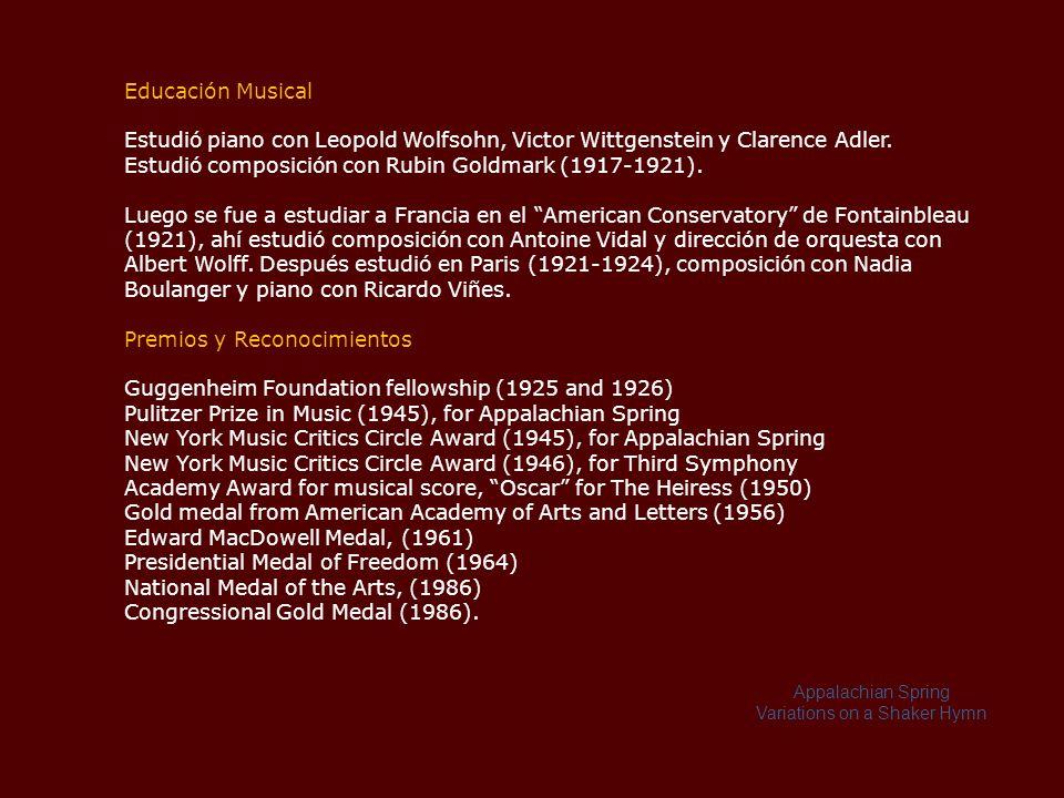 Composiciones basadas en temas de música regional Copland continuó cambiando su estilo, influido por el clima social y político de la década de 1930, buscó una manera de levantar el ánimo del público estadounidense, así como aumentar sus conocimientos musicales.
