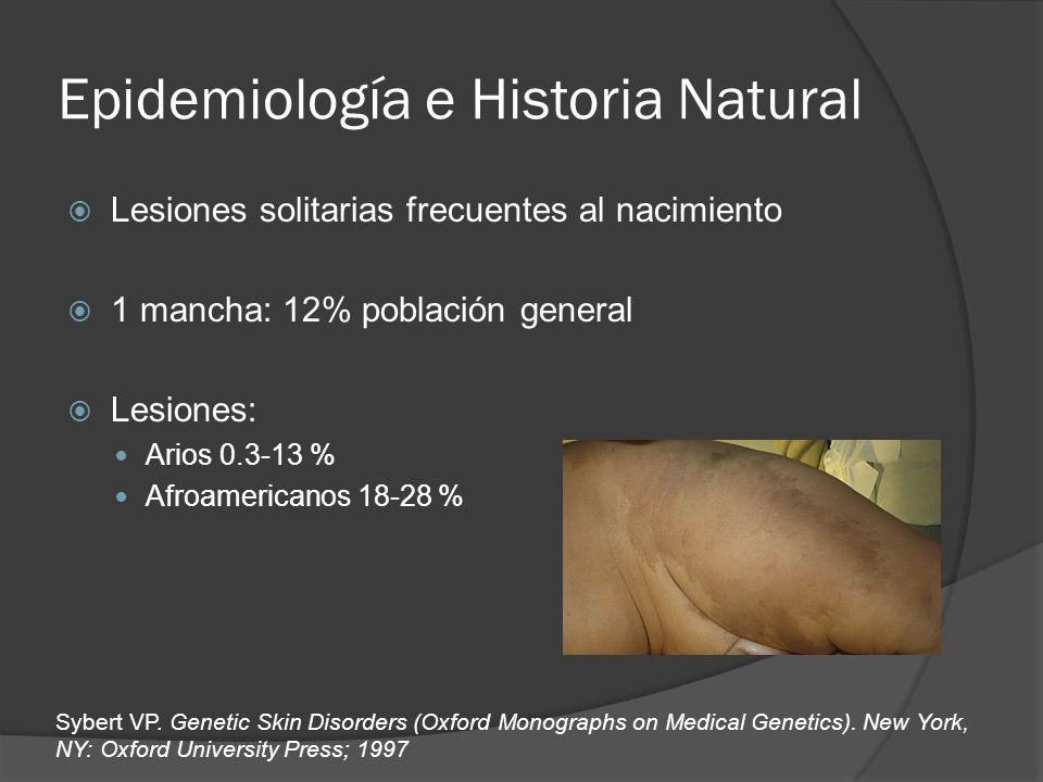Epidemiología e Historia Natural Lesiones solitarias frecuentes al nacimiento 1 mancha: 12% población general Lesiones: Arios 0.3-13 % Afroamericanos