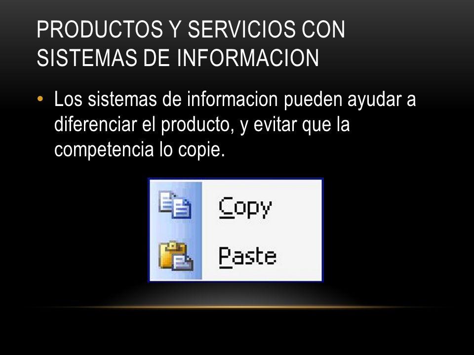 PRODUCTOS Y SERVICIOS CON SISTEMAS DE INFORMACION Los sistemas de informacion pueden ayudar a diferenciar el producto, y evitar que la competencia lo