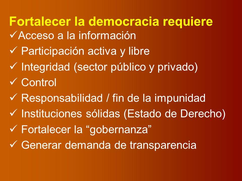 Fortalecer la democracia requiere Acceso a la información Participación activa y libre Integridad (sector público y privado) Control Responsabilidad / fin de la impunidad Instituciones sólidas (Estado de Derecho) Fortalecer la gobernanza Generar demanda de transparencia