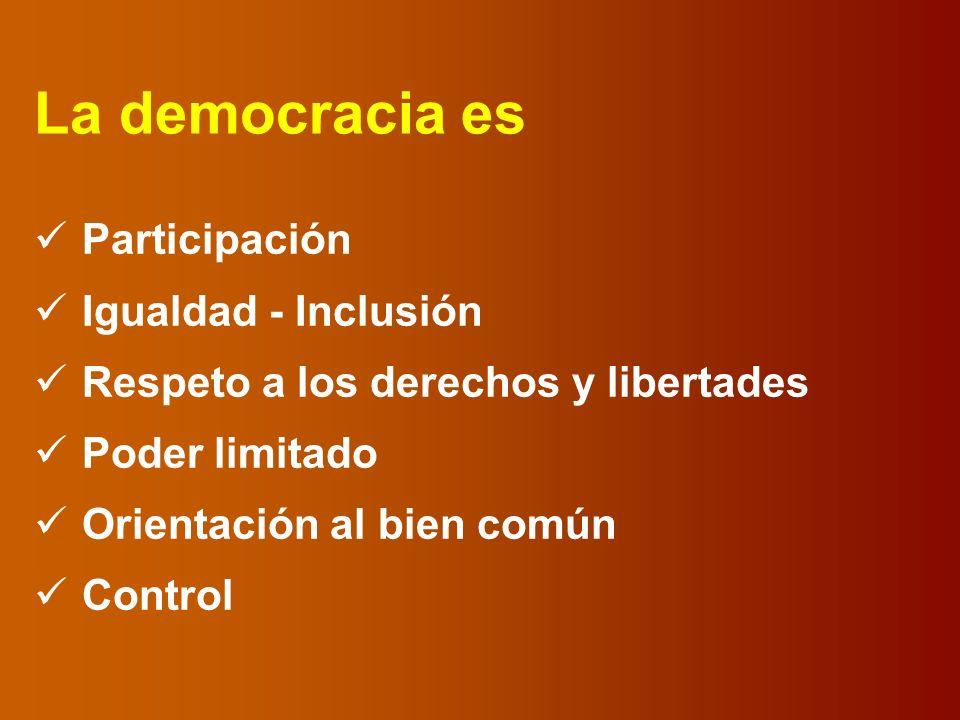 La democracia es Participación Igualdad - Inclusión Respeto a los derechos y libertades Poder limitado Orientación al bien común Control