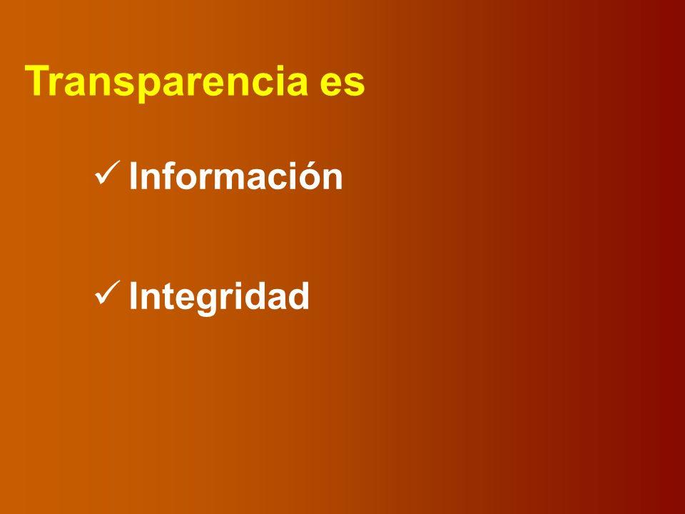 Transparencia es Información Integridad