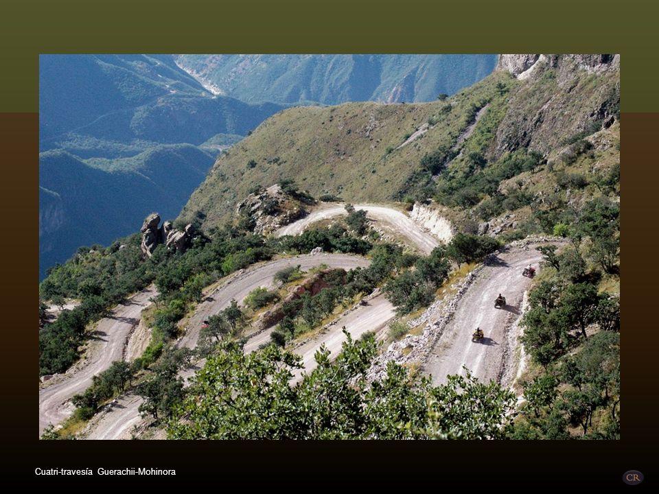 La cuatri -travesía más grande de Chihuahua por la Sierra Tarahumara, con más de 350 km de travesía y alturas de ascenso y descenso entre 480 y 3,357m