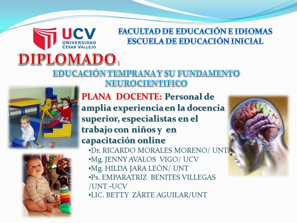 PLANA DOCENTE: Personal de amplia experiencia en la docencia superior, especialistas en el trabajo con niños y en capacitación online Dr.