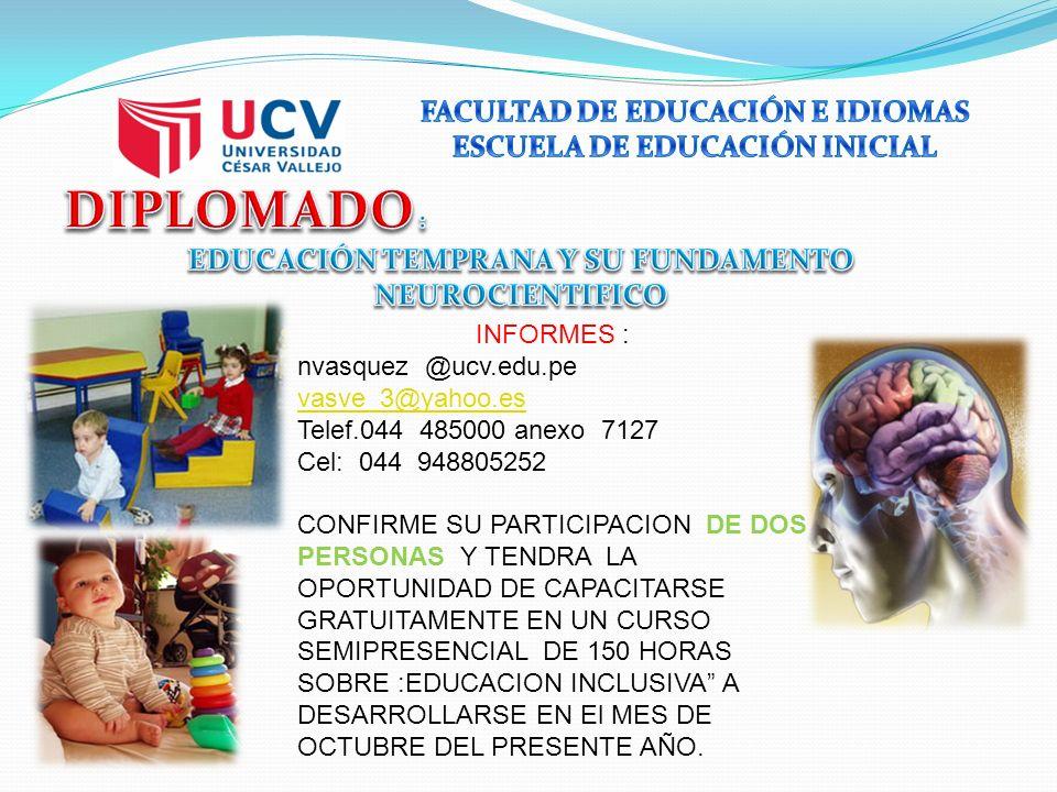 INFORMES : nvasquez @ucv.edu.pe vasve_3@yahoo.es Telef.044 485000 anexo 7127 Cel: 044 948805252 CONFIRME SU PARTICIPACION DE DOS PERSONAS Y TENDRA LA OPORTUNIDAD DE CAPACITARSE GRATUITAMENTE EN UN CURSO SEMIPRESENCIAL DE 150 HORAS SOBRE :EDUCACION INCLUSIVA A DESARROLLARSE EN El MES DE OCTUBRE DEL PRESENTE AÑO.