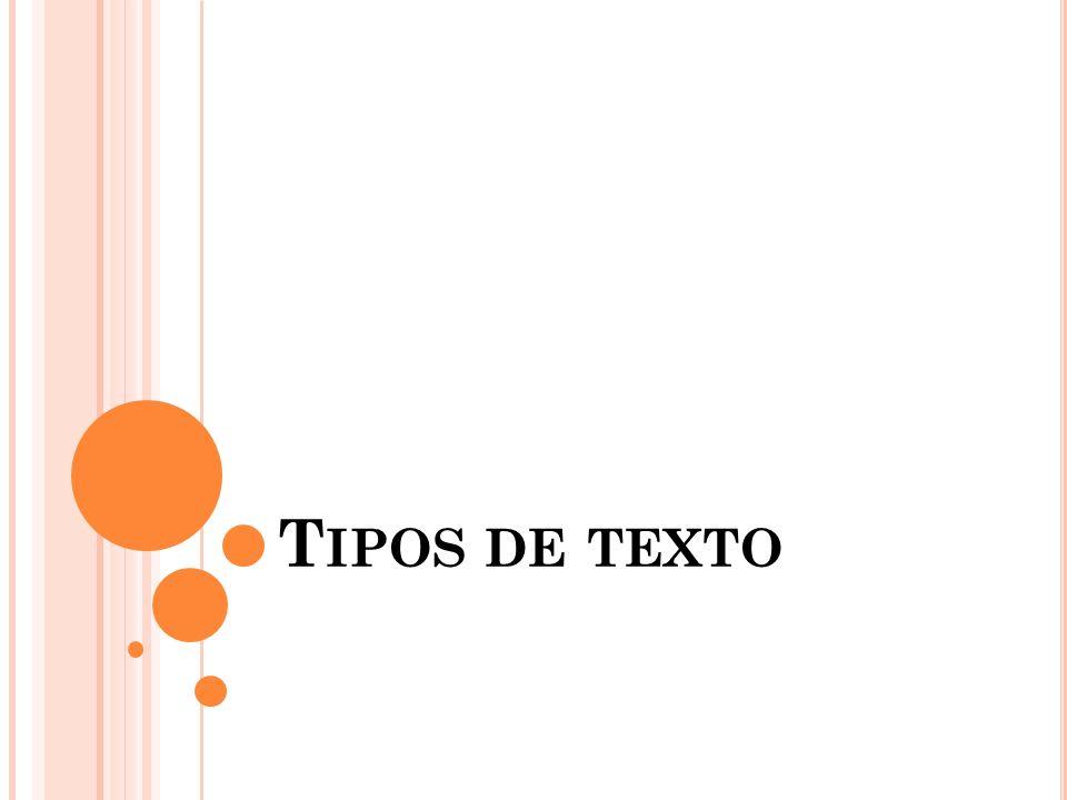 T IPOS DE TEXTO