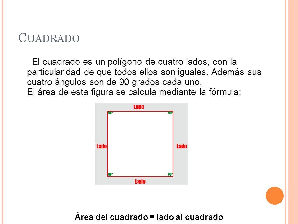 C UADRADO El cuadrado es un polígono de cuatro lados, con la particularidad de que todos ellos son iguales. Además sus cuatro ángulos son de 90 grados