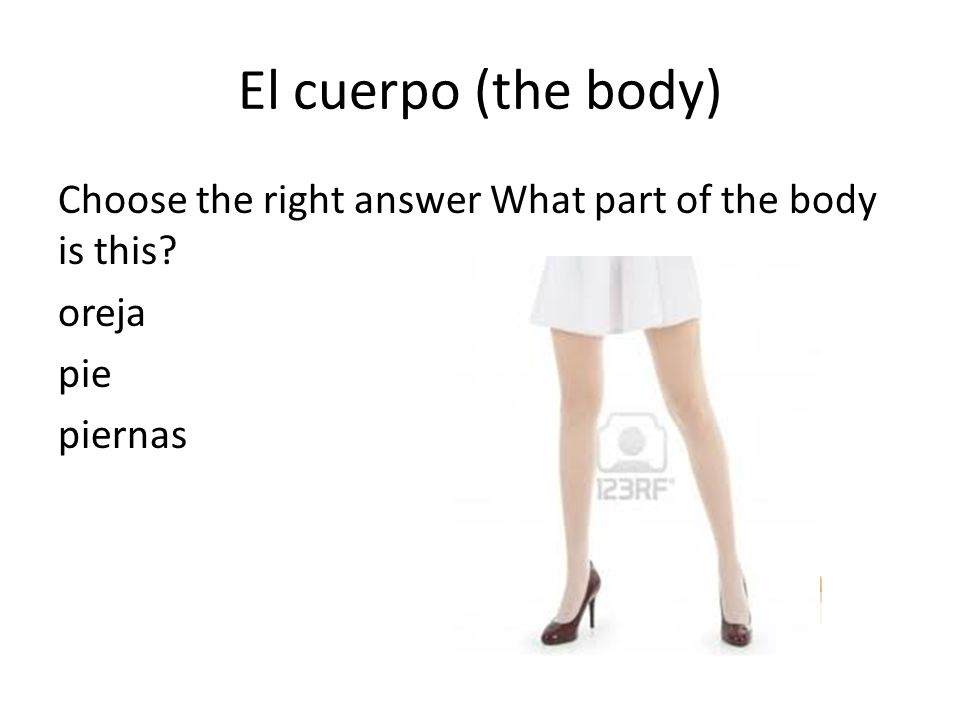 El cuerpo (the body) Choose the right answer What part of the body is this? oreja pie piernas
